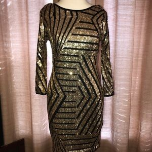 Windsor size M black and gold sequin dress